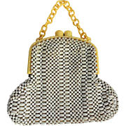 Art Deco Celluloid Beaded Purse Vintage 1940s White Yellow Womens Bag Handbag