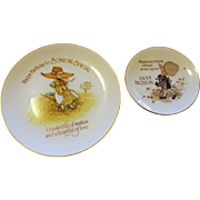 Vintage 1970s Holly Hobbie Porcelain Happy Birthday Plates