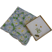 HOLD For Frances: Lot 2 Daisy Floral Hanky Hankies Swiss Appenzell Cotton Print