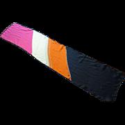 Anne Klein Silk Head Scarf Vintage 1960s Color Block Designer Accessory