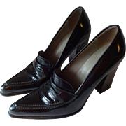 Prada Black Womens Shoes Heels Block Heel Pointed Toe Leather Italy Italian