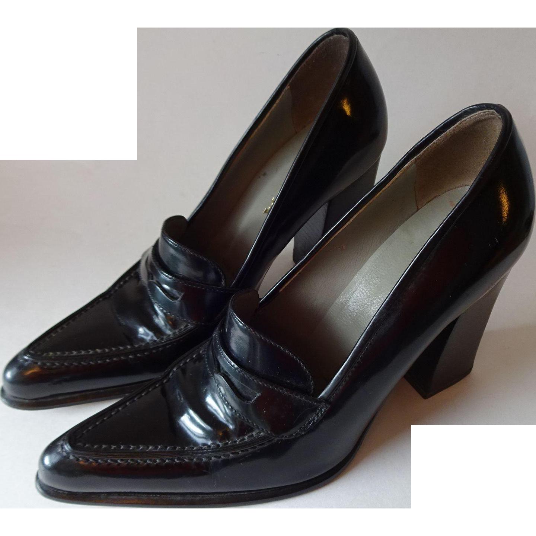 prada black womens shoes heels block heel pointed toe