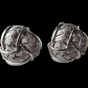 Crown Trifari Clip Earrings Vintage 1960s Ribbon Signed Pair