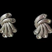Crown Trifari Rhinestone Clip Earrings Vintage 1960s Fireworks Signed Pair