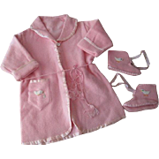 Pink Girls Robe Slipper Vintage 1950s Appliqued Ducks Satin Trim Belt