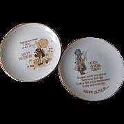 Holly Hobbie Porcelain Plates Vintage 1970s Friendship Birthday Motto Lot 2
