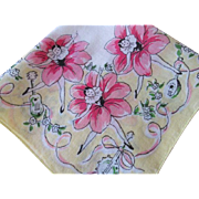 Art Deco Pierrete Handkerchief Flower Doll Ballerina Dancers Vintage 1940s Novelty Print Hankie Hanky