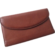Brown Leather Wallet Vintage 1970s Trifold Coin Purse