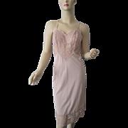 Vanity Fair Beige Nylon Full Slip Vintage 1960s Wide Lace Bust Trim