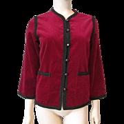 Saks Fifth Avenue Crimson Red Velvet Jacket Vintage 1970s Womens Black Trim Cardigan