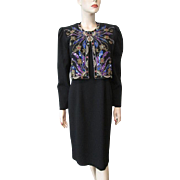 Beaded Jacket Dress Suit Vintage 1980s Karen Lawrence By Matthew Black Cocktail Evening Special Occasion