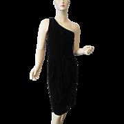 Black Velvet Dress Vintage 1980s One Shoulder Salesman Sample Never Worn