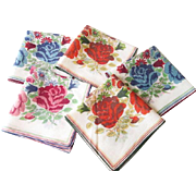 Five Fall Colors Handkerchiefs Vintage 1950s Stripes Flowers Coordinating Patterns Cotton Hanky Hankie