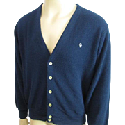Mens Christian Dior Cardigan Sweater Vintage 1980s Navy Blue Golf XL