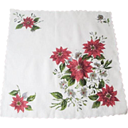 Large Floral Christmas Handkerchief Vintage 1950s Poinsettia Holiday Hanky Hankie