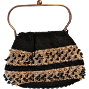 Reticule Purse Handbag Vintage 1950s Black Gold Crocheted Lucite Base