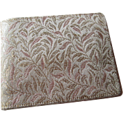 French Silk Brocade Wallet Vintage 1930s Gold Floral Bifold
