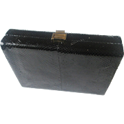 Black Snakeskin Box Purse Clutch Vintage 1960s Made In Italy Couture Collection