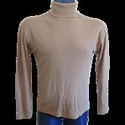 Mens Italian Turtleneck Sweater Vintage 1970s Camel Acrylic Gimbels For Men