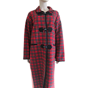 Blanket Coat Red Wool Plaid Vintage 1970s Womens Outerwear Toggle Buttons Large Size