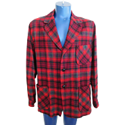 Mens Pendleton Wool Jacket Vintage 1960s Topster Red Plaid Holiday Wear Gift