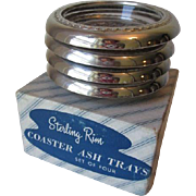 Sterling Silver SS Rim Glass Coaster Set Of 4 In Original Box Ashtray Candy Dish