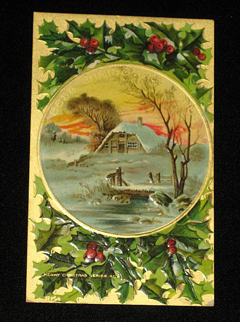 "Antique Embossed Postcard-Holly, Berries & Snowy Country Scene w/Home & Burning Fireplace-""Merry Christmas Series 403""-Unused"
