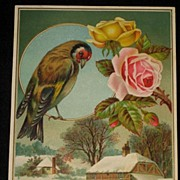 Large C. 1886 Card with Embossed Roses, Bird & Snowy Scene