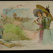Antique Woolson Spice Advertising Easter Card with Two Beautiful Young Ladies, Bible & Cross-Knapp & Co.