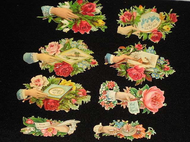 Eight Victorian Embossed Die Cuts with Hands, Roses & Some Phrases from 1886 Scrapbook