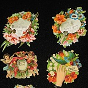 Six Victorian Embossed Die Cuts with Flowers, Cherubs, Birds & Five Phrases-From 1886 Scrapbook