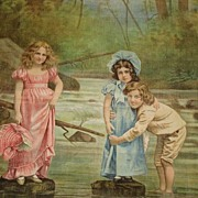 Unused Dated 1902 Litho on Fabric Pillow-3 Children in River by Schwab & Wolf, NY