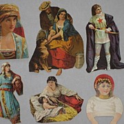 Six Victorian Cut-Outs featuring Gypsy Ladies & One Medieval Dressed Lady-All from 1886 Scrapbook