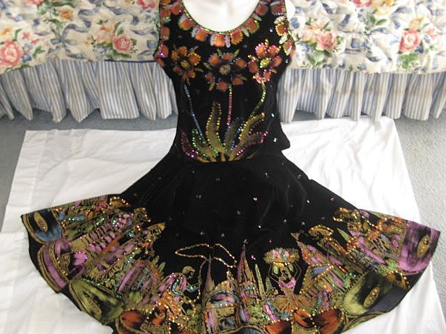 ON-HOLD THROUGH 4/9 FOR 'L'-Exceptional Two Piece 1950's Hand Painted & Sequined Black Velveteen Mexican Skirt/Top-Signed Guadalajara-Sz. Small