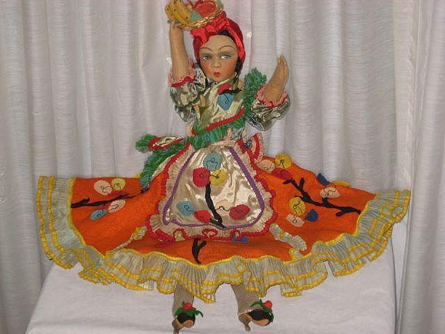 """1930's Tagged Joao Perotti Bahia/Chiquita Banana Lady Felt Boudoir Doll-24"""" Tall"""