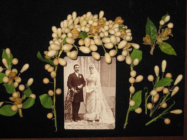 Antique Wax Wedding Tiara, Corsages, Small Wax Pieces Plus Original Wedding Cabinet Card