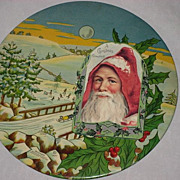 Large/Rare 1927 Celluloid  Photo Button with Christmas Winter Scene