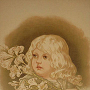 Dated 1889 Chromolithograph of Young Girl holding Long Stemmed Lilies-1 of 9