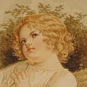 Dated 1889 Chromolithograph of Young Girl in Field Looking Up While Holding a Flower-2 of 9
