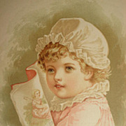 Dated 1889 Chromolithograph of Young Child in Night Cap Reading Little Bo Peep-8 of 9