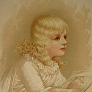 Dated 1889 Chromolithograph of Older Child Reading a Book-9 of 9