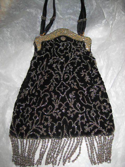 Outstanding 1920's Black Velvet & Steel Beaded Purse with Steel Beaded Fringe