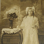 Dated 1919 Cabinet Card of Girl Dressed for First Communion Holding Rosary & Holy Card