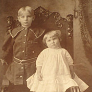 Antique Cabinet Card of Adorable Young Girl & Boy Standing on Chair