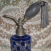 Stunning Antique C.1900's Cobalt Blue Cased Cut Glass Perfume Atomizer