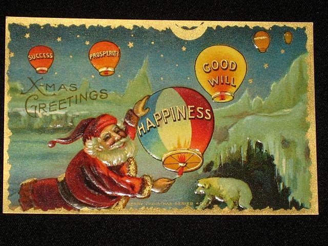"Antique Embossed Postcard-Santa Lighting ""Happiness"" Hot Air Balloon-Merry Christmas Series 403-Unused"