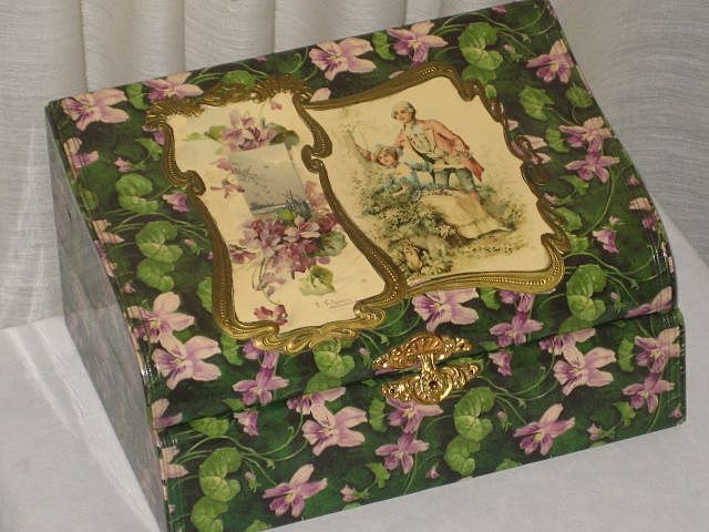 Rare Victorian Celluloid Curved Box SIGNED C. KLEIN on One Section & Other Section w/Couple & Rabbit-Never Used