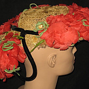 Unusual 30's-40's Delle Donne Raffia Straw Hat w/Organdy Poppies & Back Velvet Ring w/Poppies
