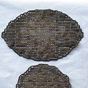 Two Antique Dark Gold Metallic Doilies