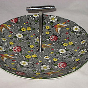 Vintage Black Floral Bird Chintz Tid Bit Dish with Handle-Burslem England- Newport Pottery